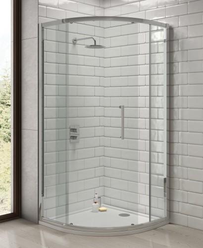 Rival 8mm 900 Quadrant Single Door Shower Enclosure - 850 - 880 mm