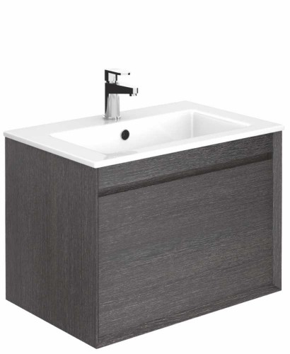 Regine Dark Wood 55 cm Wall Hung Vanity Unit and Basin