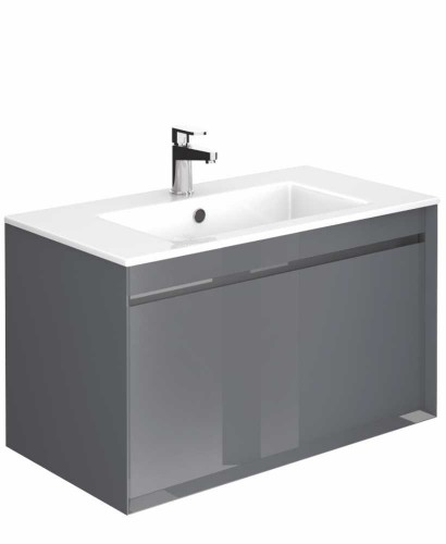 Regine Anthracite 80 cm Wall Hung Vanity Unit and Basin
