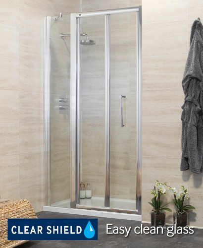 Rival 1100 Bifold Shower Door with Single Infill Panel - Adjustment 1040-1100mm