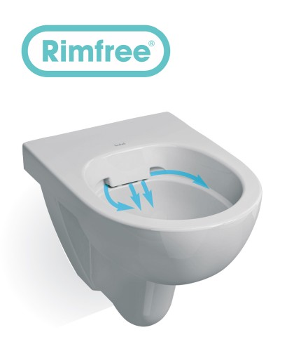 Twyford Toilets E100 Round Wall Hung Rimfree Toilet With