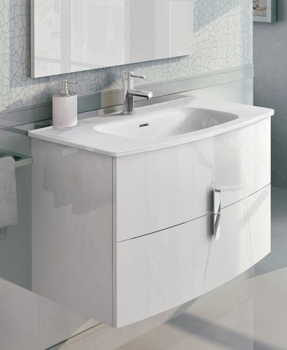 Contura White 100cm Vanity Unit 2 Drawer