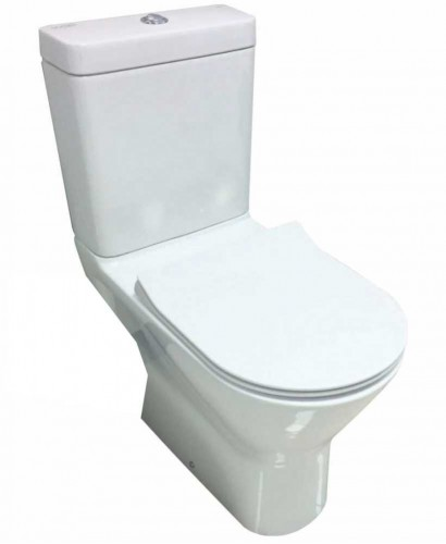 RAK Resort Comfort Height Close Coupled Rimless Toilet & SLIM Soft Close Seat