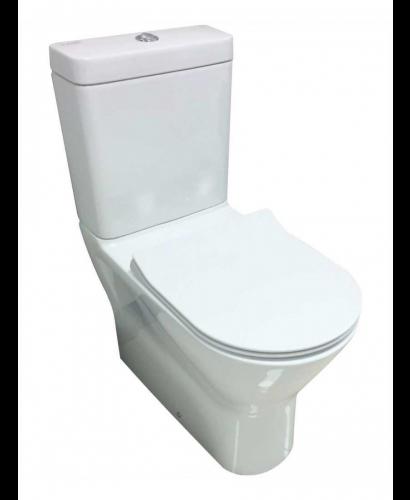 RAK Resort Close Coupled Fully Shrouded Rimless Toilet & SLIM Soft Close Seat