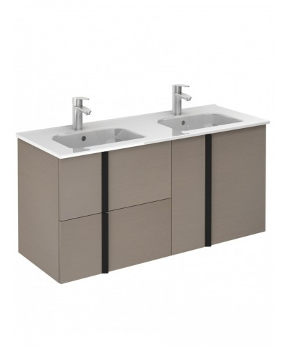 Athena Smokey Grey Wall Hung 120 Vanity Unit and SLIM Basin - 2 door 2 drawer