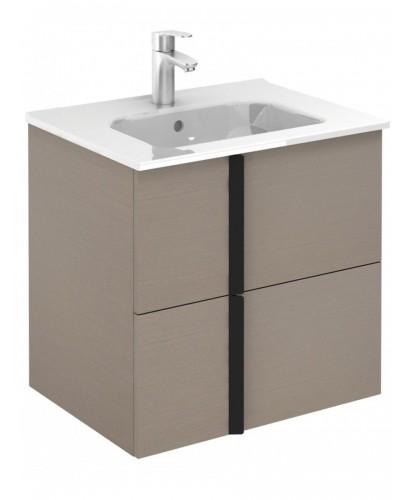 Athena Smokey Grey Wall Hung 60 Vanity Unit and SLIM Basin - 2 Drawer