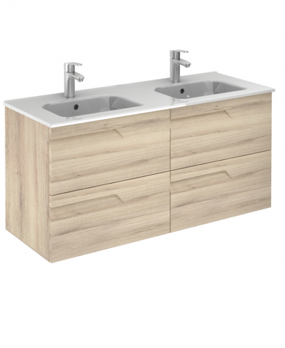 Pravia Natural Beige 120 cm Wall Hung Double Vanity Unit and SLIM Basins