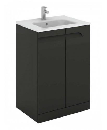 Pravia Gloss Grey 60 Cm Floor Standing Vanity Unit And SLIM Basins
