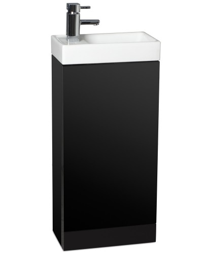 Space 40cm Black Floor Standing Unit ,  Cloakroom Basin & Tap