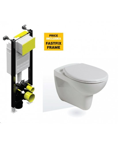 Lucia Wall Hung Toilet with Soft Close Seat with Fastfix Frame