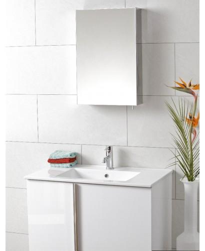 Steel single door mirror cabinet 400 x 600 for Bathroom cabinet 600 x 400