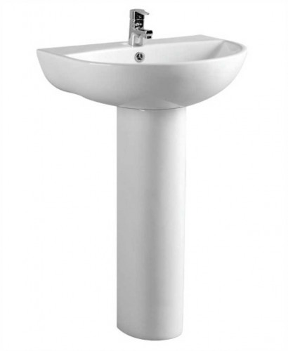 Veronica 50 cm Basin and Full Pedestal 1 Tap Hole