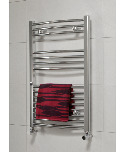 Curved 800 x 500 Heated Towel Rail Chrome
