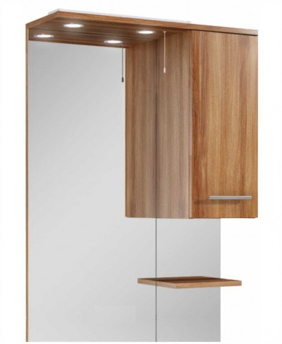 Blanco 70cm Walnut  Mirror with LED Light & Pullcord