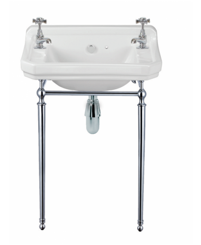 Norbury 55cm Wash Basin & Chrome Washstand, 2 Tap Hole