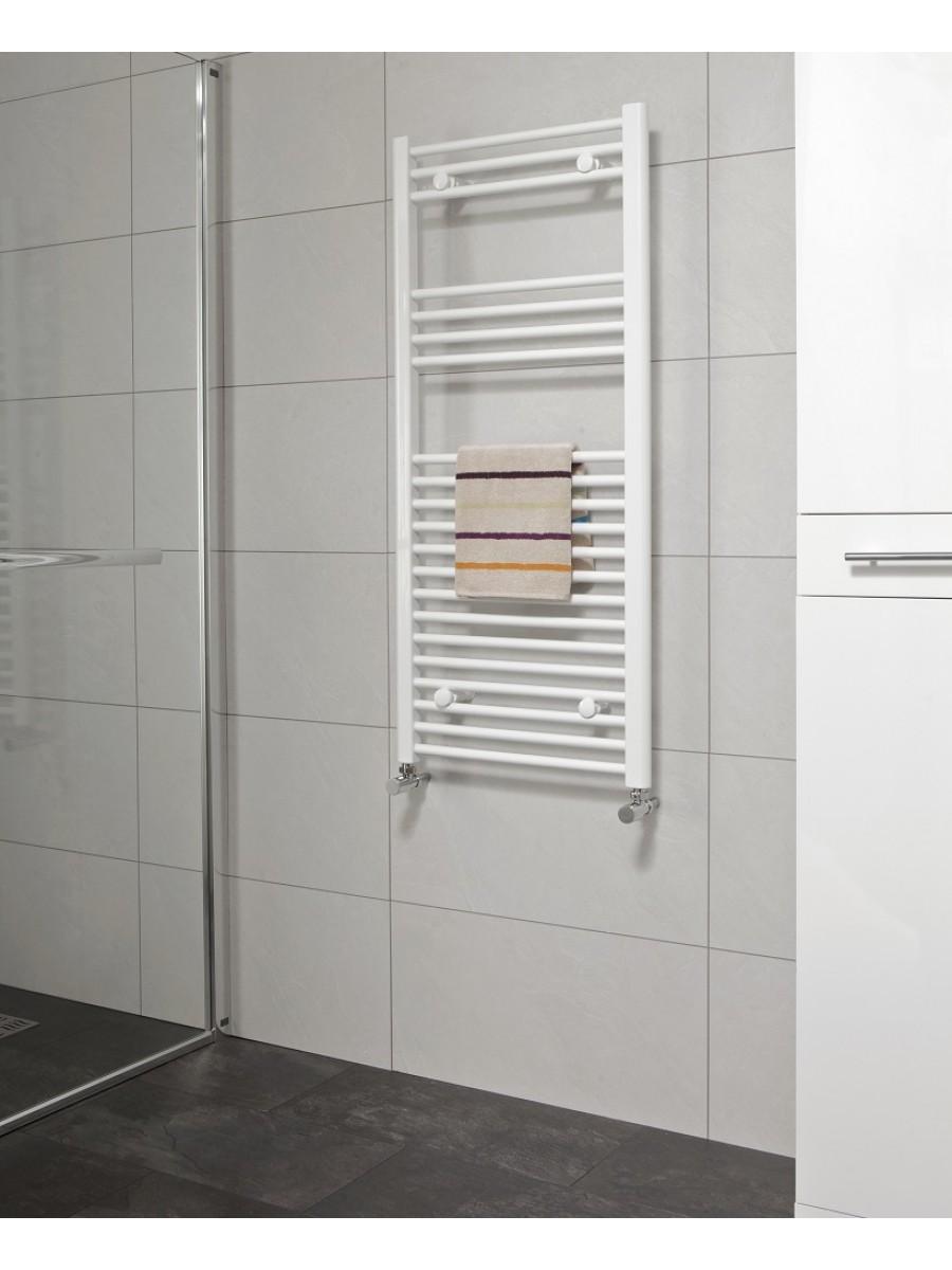 Straight 1200x500 Heated Towel Rail White