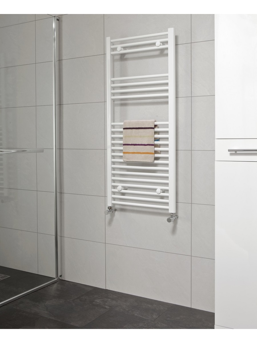 Straight 1200x600 Heated Towel Rail White