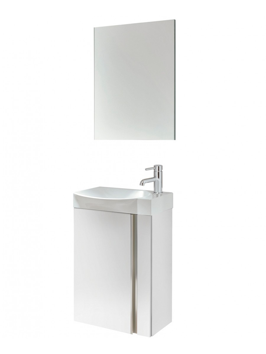 Bern 45 cm Gloss White Wall Hung Vanity Pack with Mirror