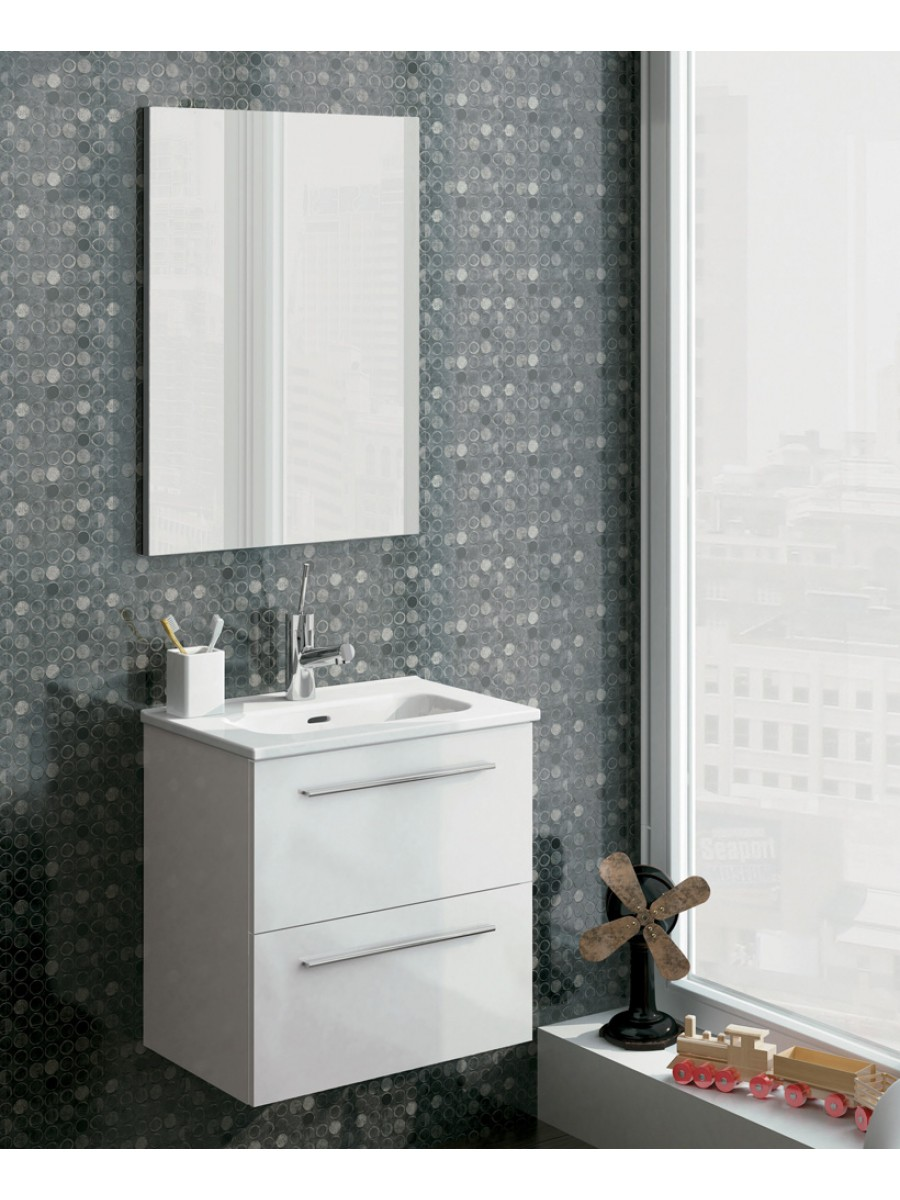 Zurich 50 cm Gloss White Vanity Pack with Mirror - Drawers