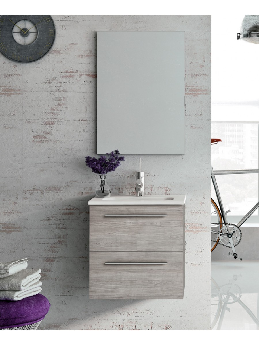 Zurich 50 cm Sandy Grey Vanity Pack with Mirror - Drawers