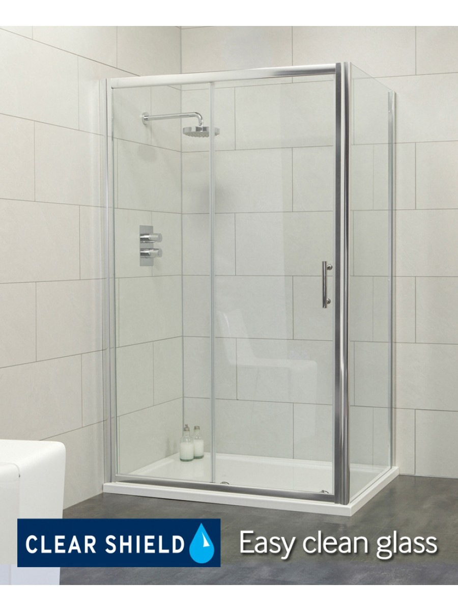Cello 1100 x 760 sliding shower door - includes 760mm side panel