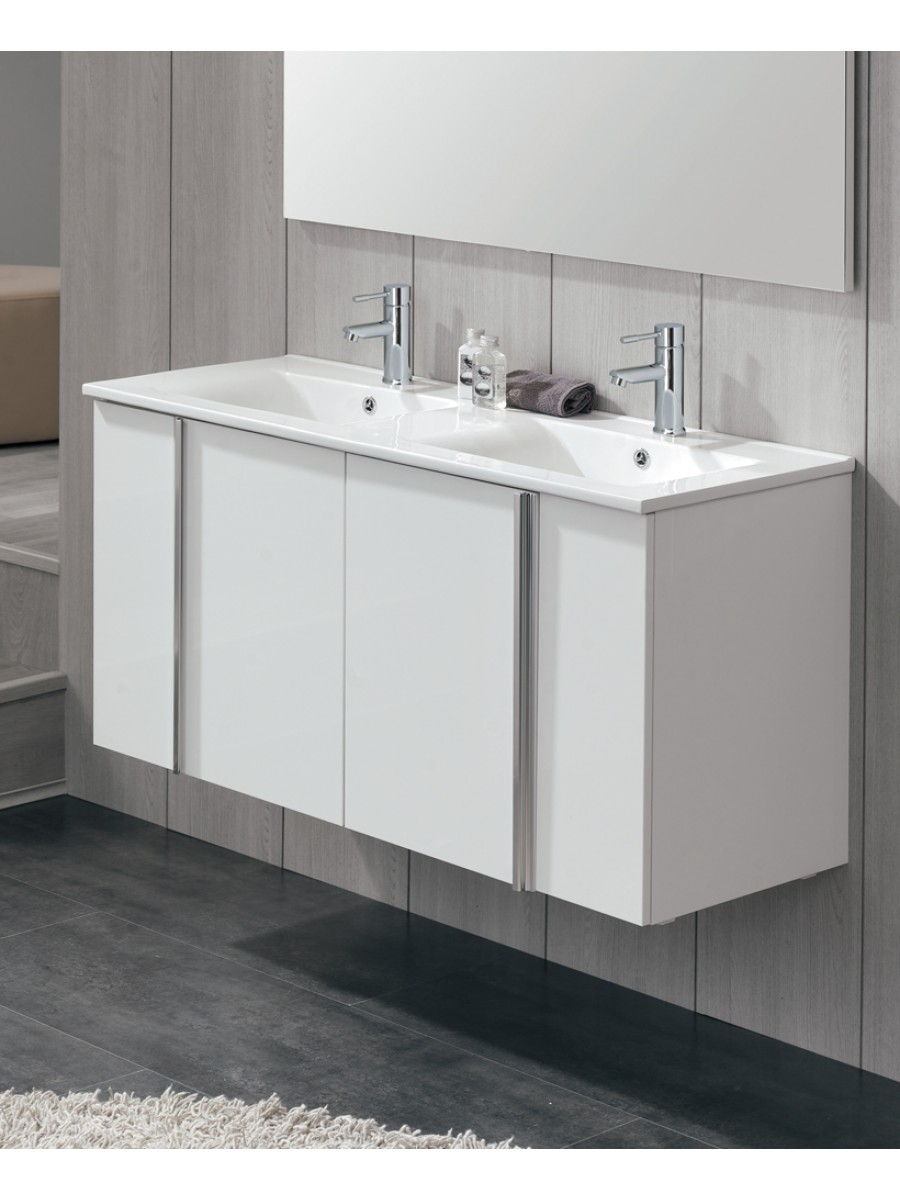 Athena White 4 Door 120cm Wall Hung Vanity Unit and Basin