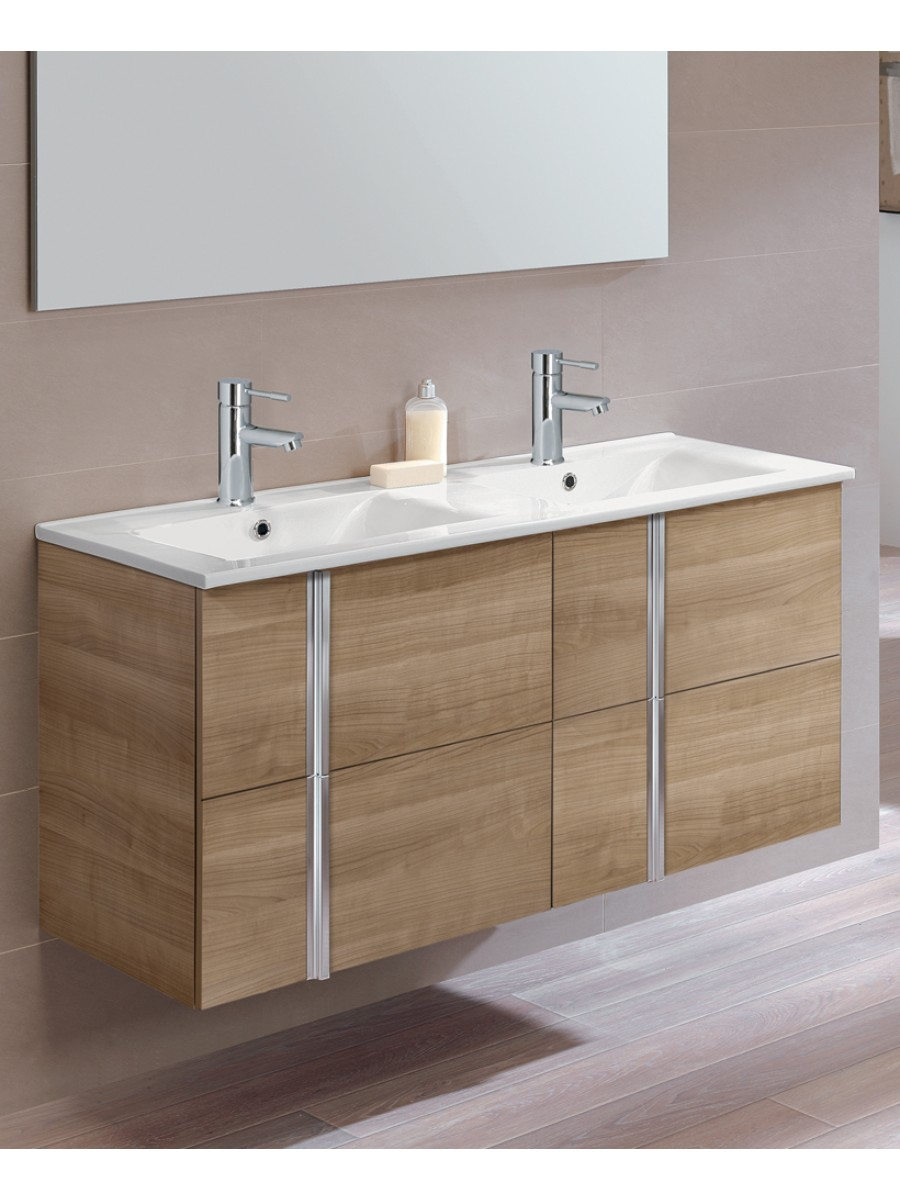 Athena Walnut 4 Drawer 120cm Wall Hung Vanity Unit and Basin. Athena Walnut 4 Drawer 120cm Wall Hung Vanity Unit and Basin