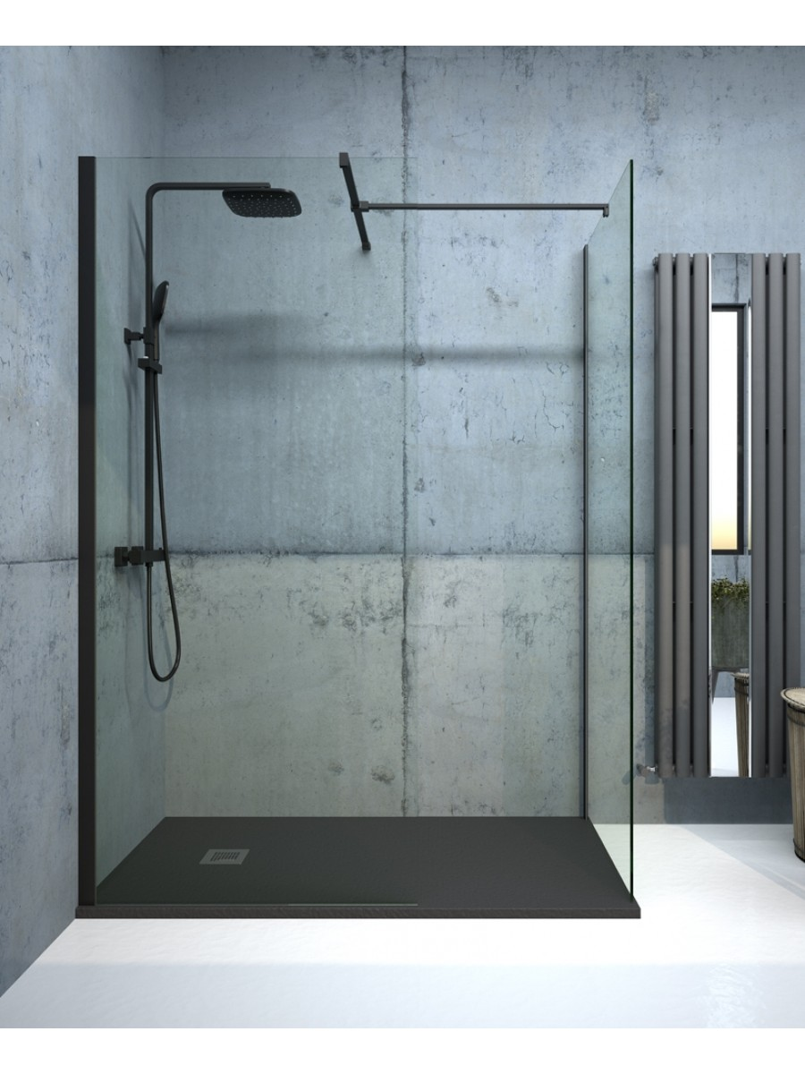 Apura Black 900mm Wetroom Panel, Adjustment Min - Max 870 - 890mm