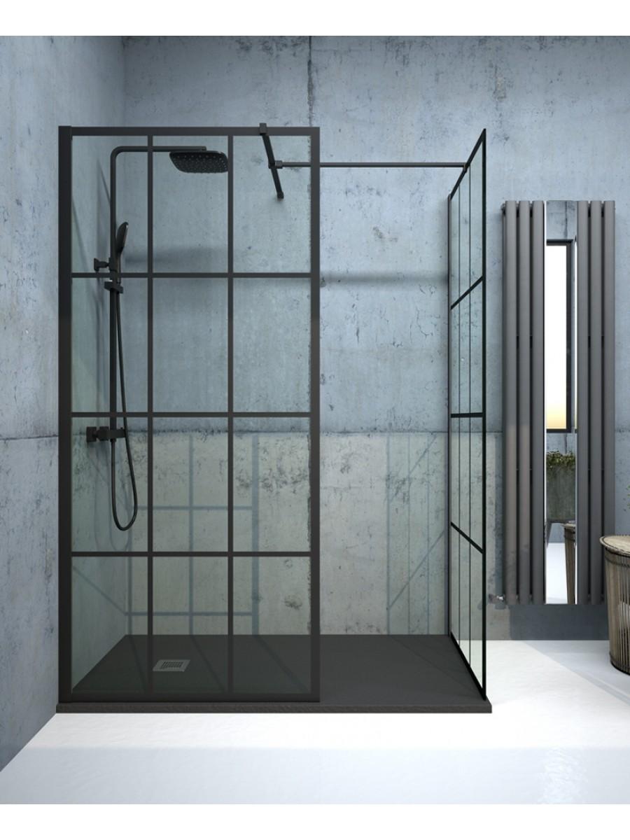 Apura Black Trellis 1200mm Wetroom Panel, Adjustment Min - Max 1170 - 1190mm