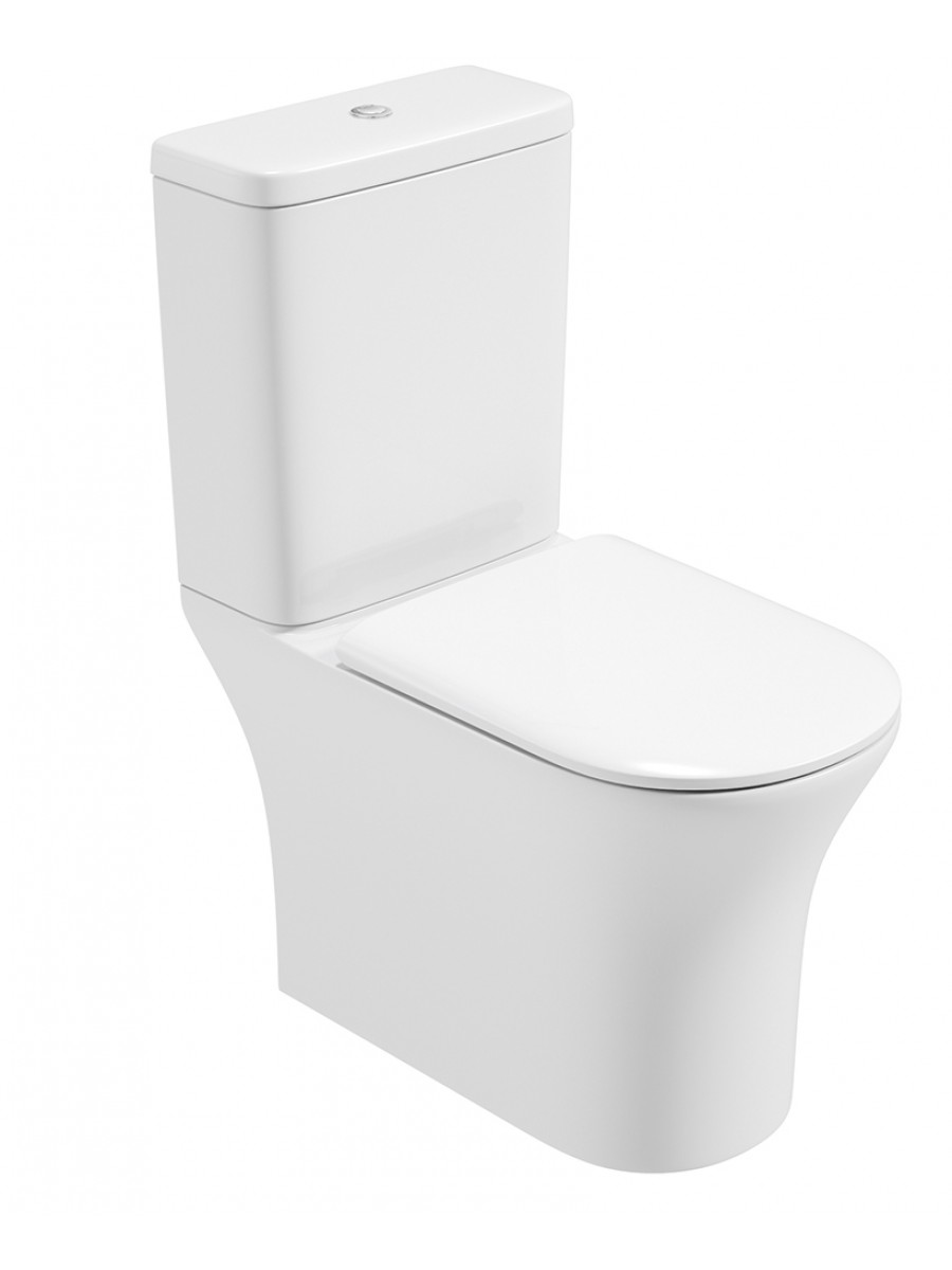 Angela Fully Shrouded Close Coupled Rimless WC with Soft Closing Quick Release Seat