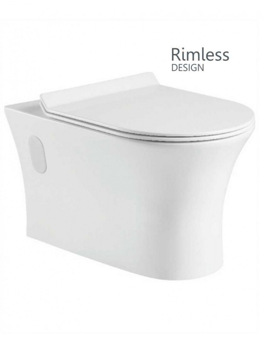 Angela Wall Hung Rimless WC with Quick Release Soft Closing SLIM Seat