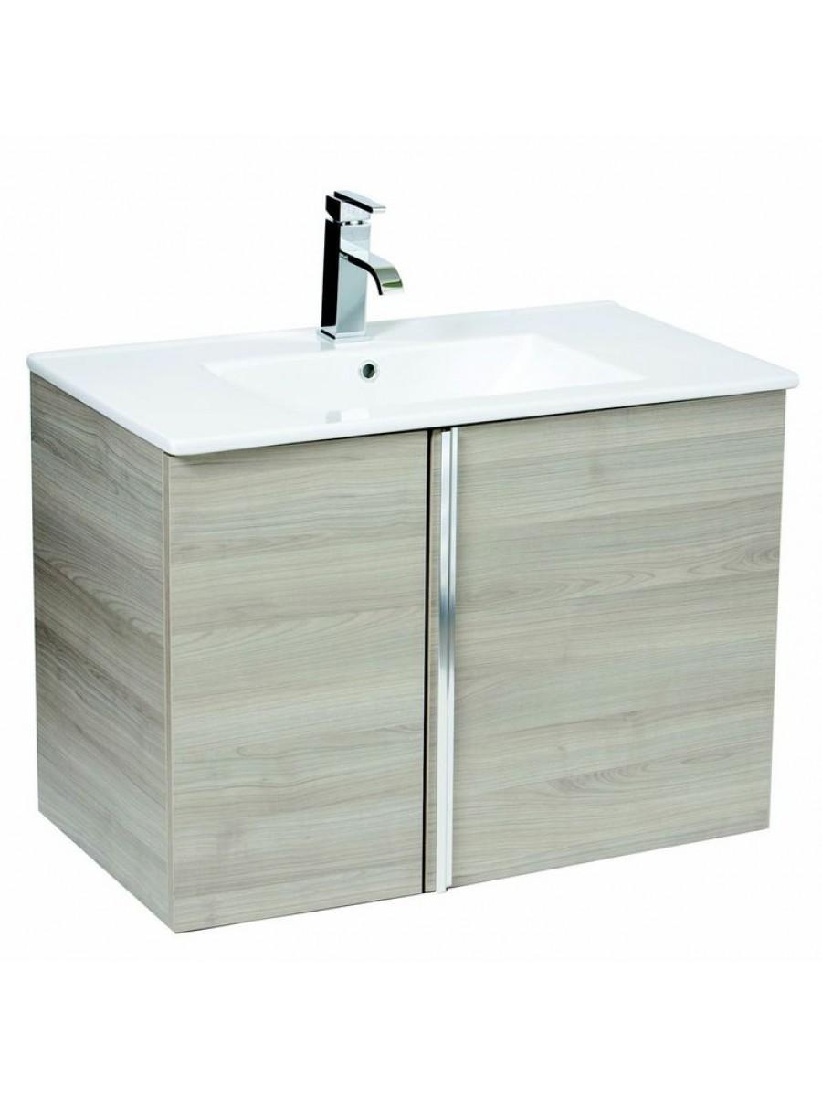 Athena Sandy Grey 80cm Wall Hung Vanity Unit 2 Door & Basin