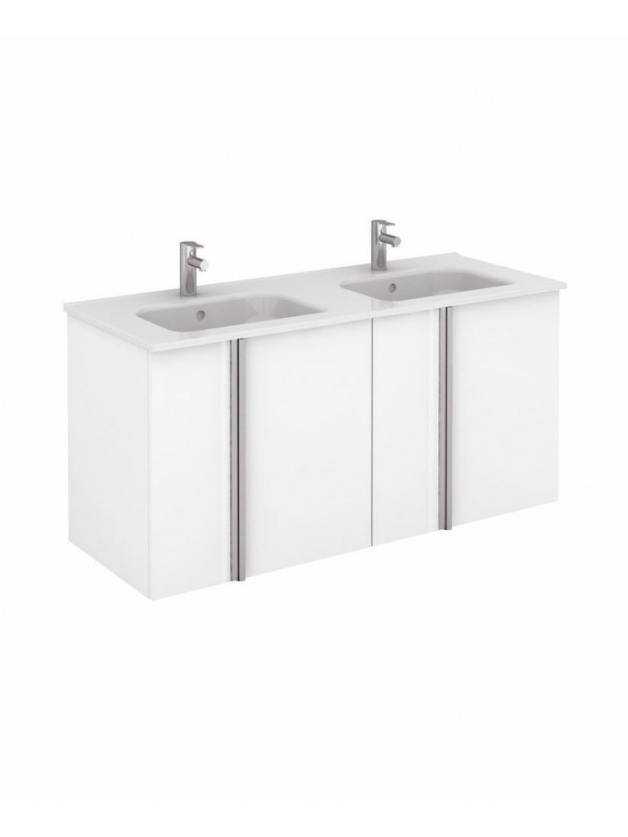 Athena 120cm Gloss White Double Vanity Unit with SLIM Basin -  Doors
