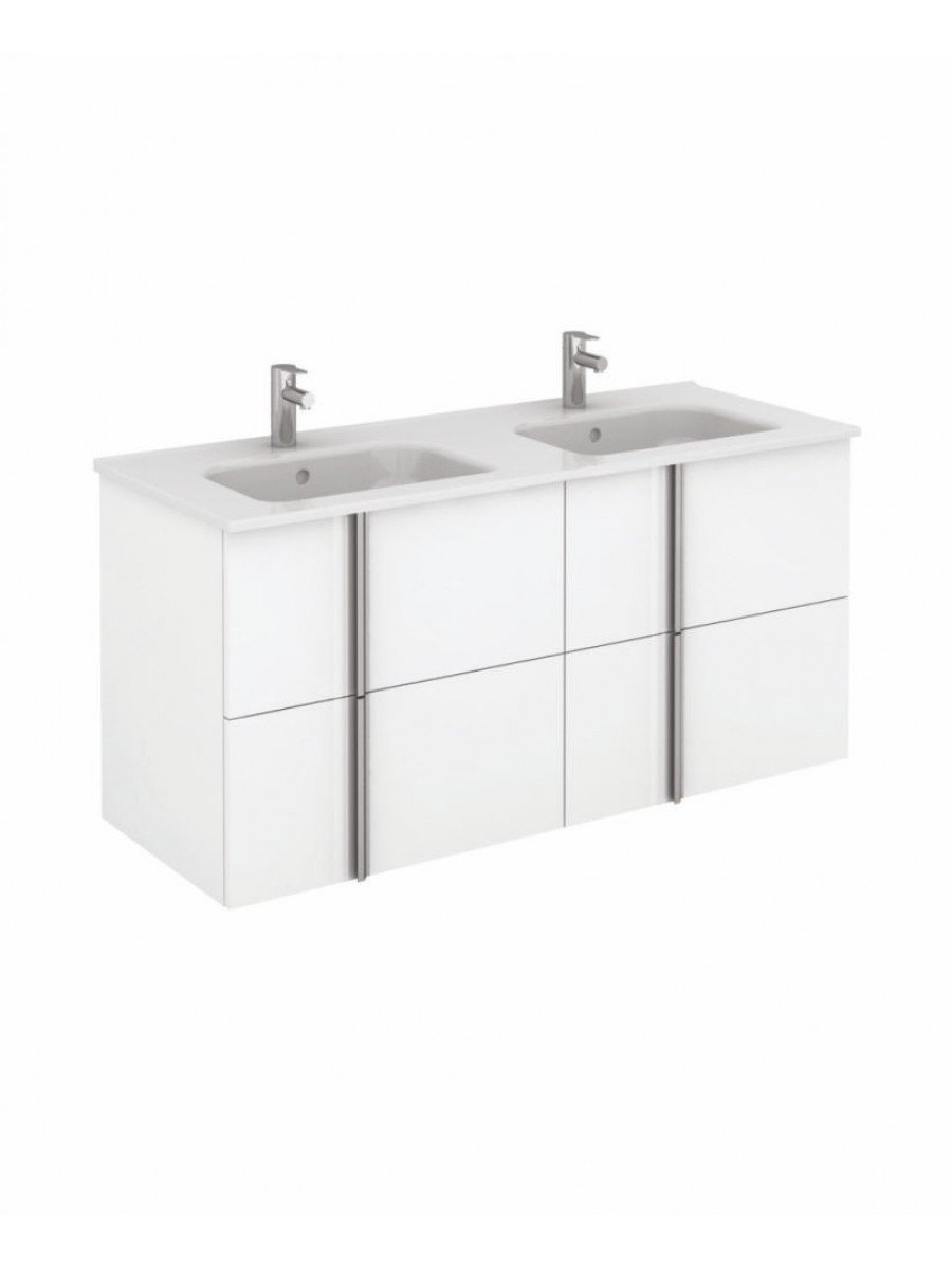 Athena 120cm Gloss White Double Vanity Unit with SLIM Basin -  Drawers