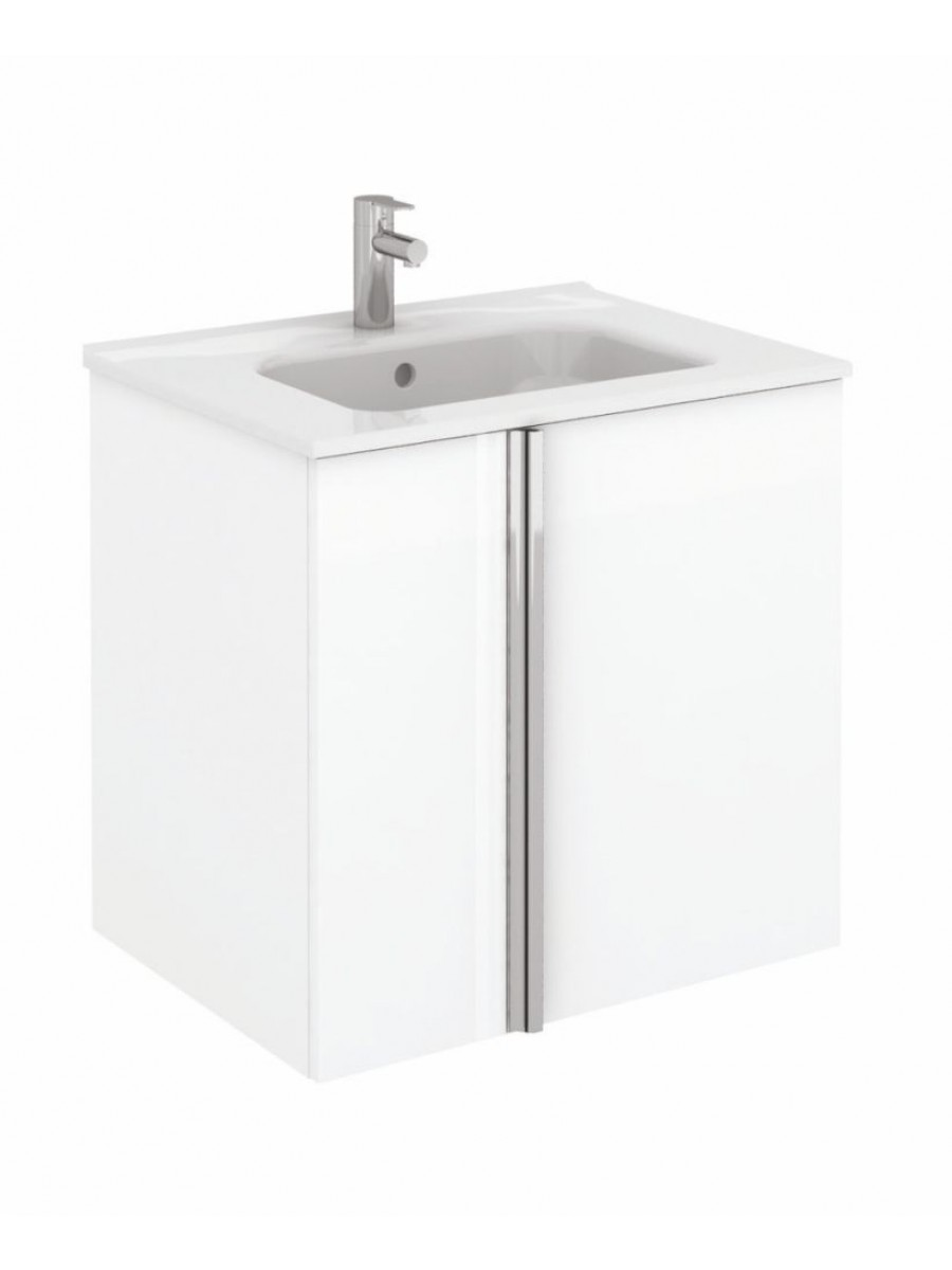 Athena 60cm Gloss White Vanity Unit with SLIM Basin - Drawers