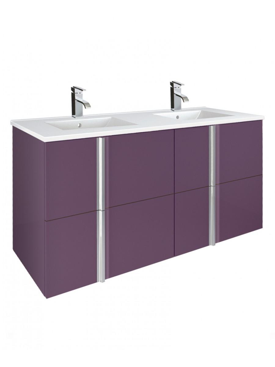 Athena Aubergine 120cm Double Vanity Unit 4 Drawer & Basin