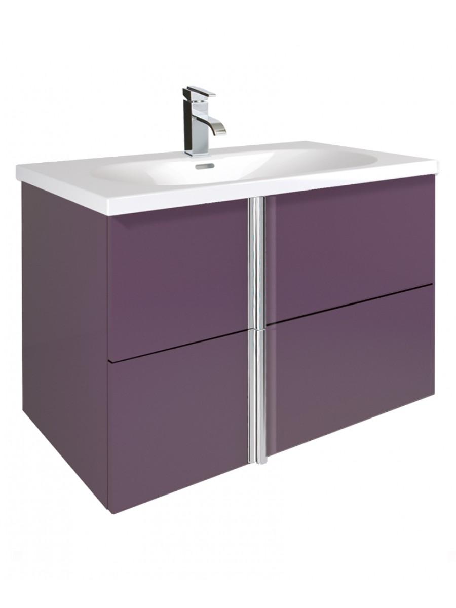 Athena Aubergine 80cm Vanity Unit 2 Drawer and Aida Basin