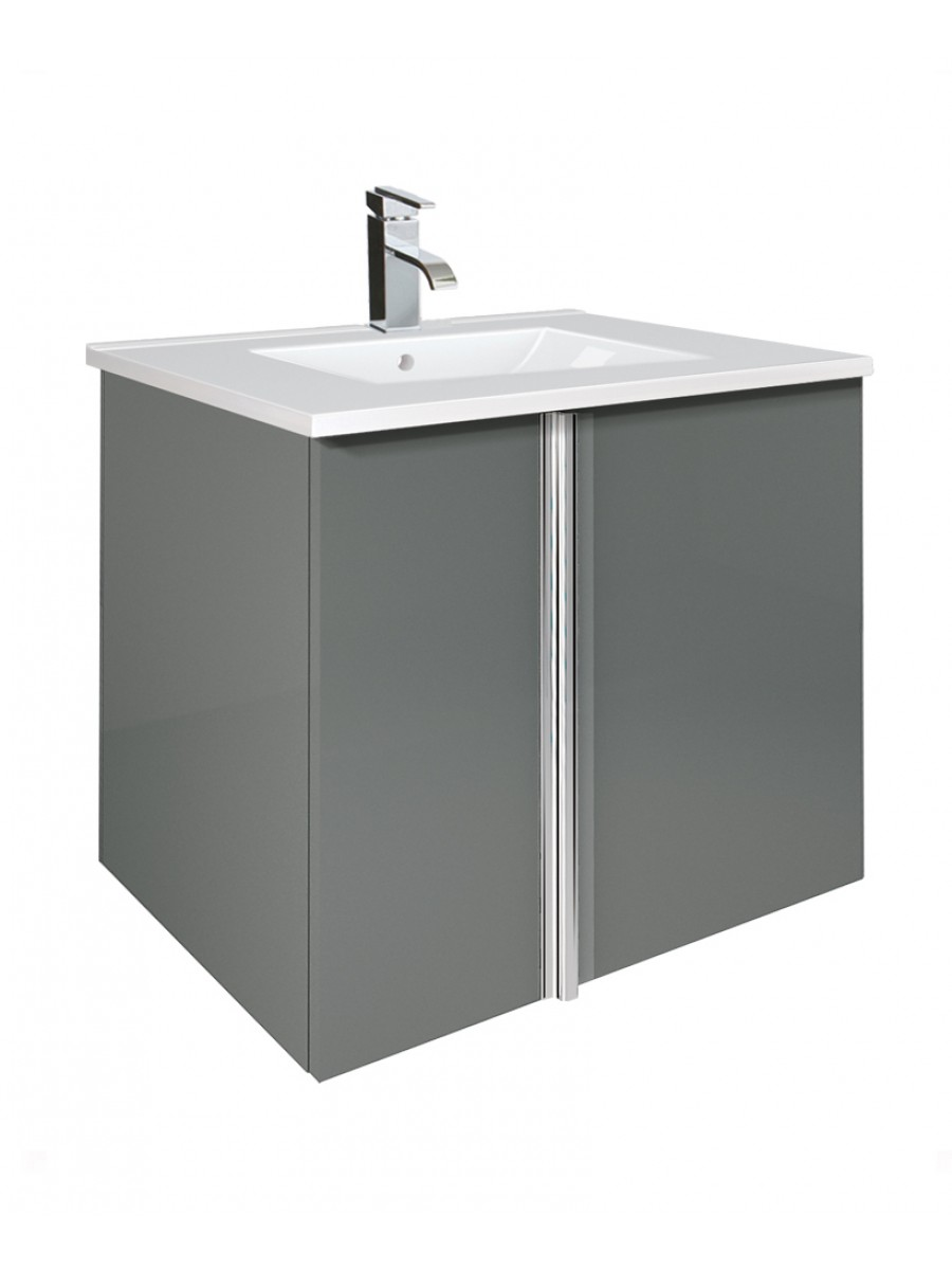 Athena Gloss Grey 60cm Vanity Unit 2 Door and Basin