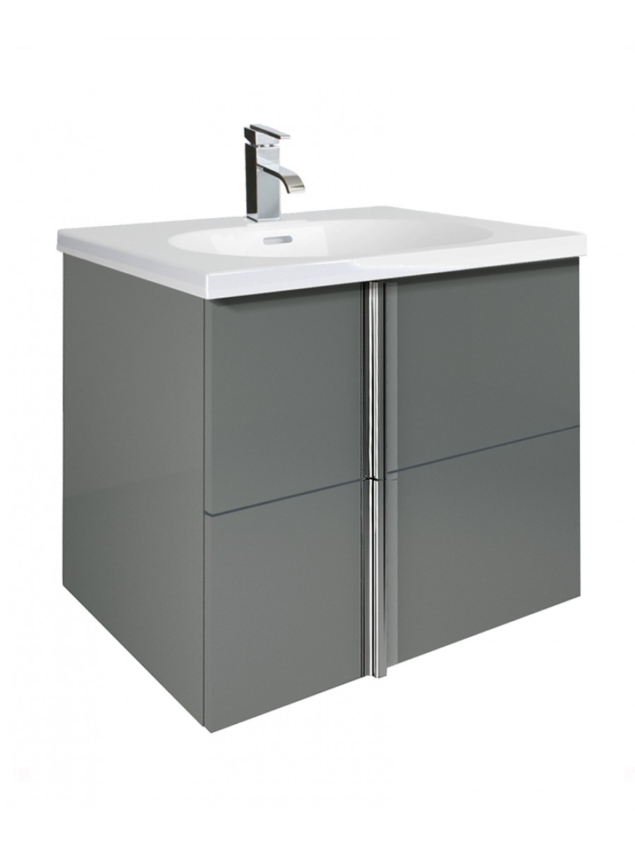 Athena Gloss Grey 60cm Vanity Unit 2 Drawer and Aida Basin