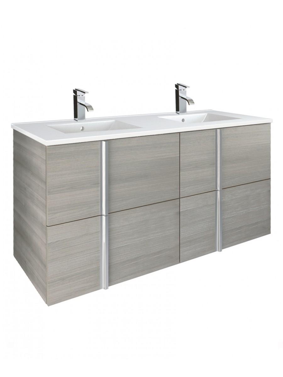Athena Sandy Grey 120cm  Double Vanity Unit and Basin - 4 Drawer