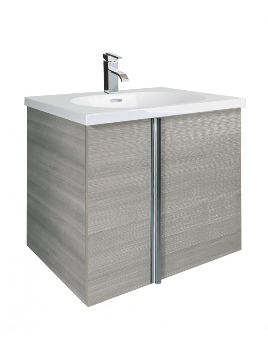 Athena Sandy Grey 2 Door 60cm Wall Hung Vanity Unit and Aida Basin