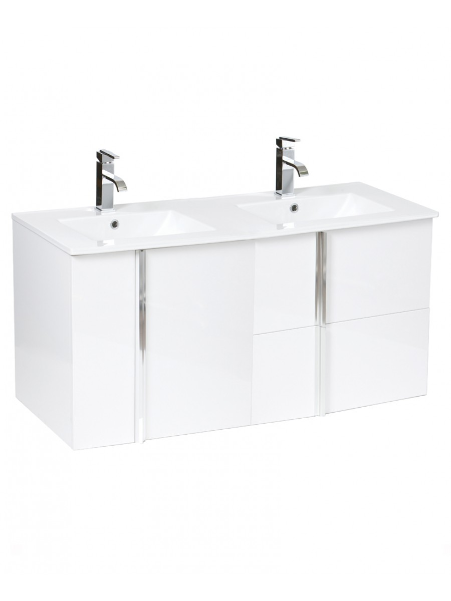 Athena White 2 Door 2 Drawer 120cm Wall Hung Vanity Unit and Basin