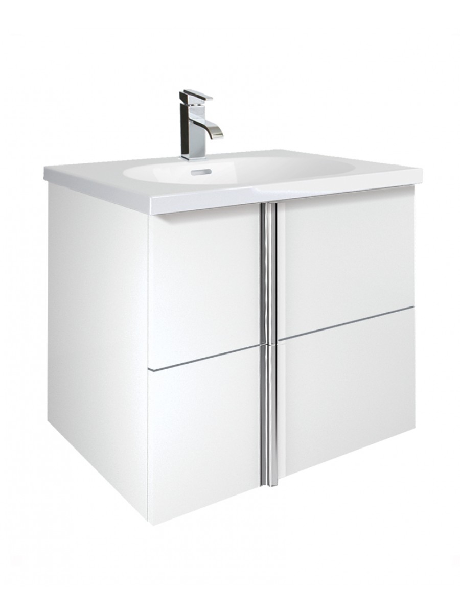 Athena White 2 Drawer 60cm Wall Hung Vanity Unit and Aida Basin