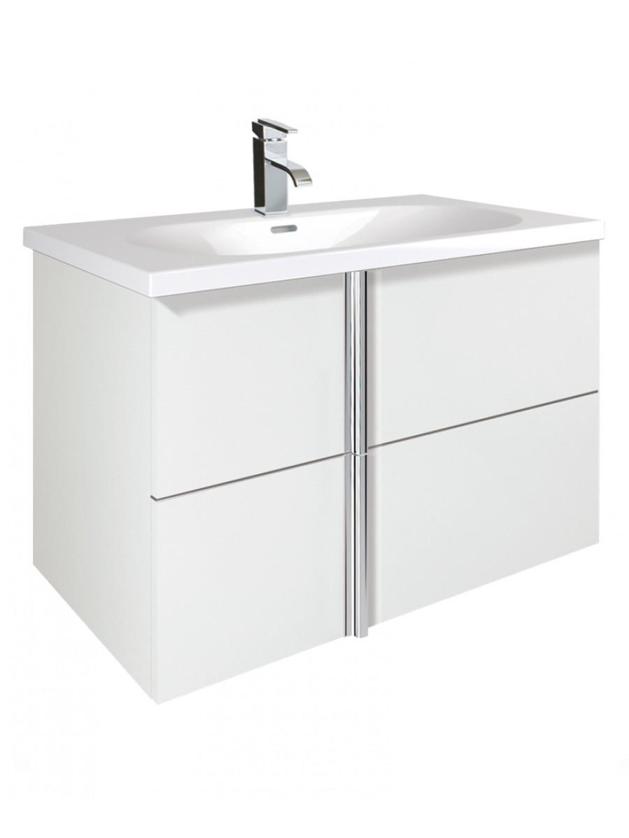 Athena White 2 Drawer 80cm Wall Hung Vanity Unit and Aida Basin