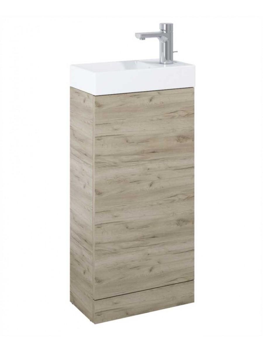 Space 40cm Craft Oak Floor Standing Unit & Cloakroom Basin