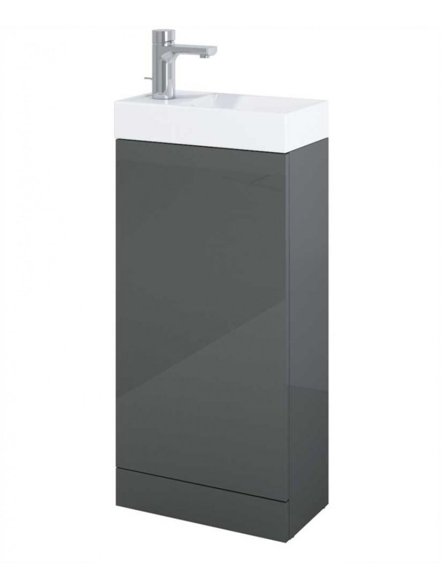 Space 40cm Gloss Grey Floor Standing Unit & Cloakroom Basin
