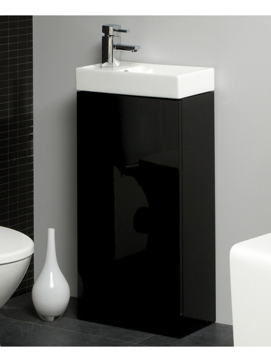 ... Space 40cm Black Floor Standing Unit U0026 Cloakroom Basin   Space Saving