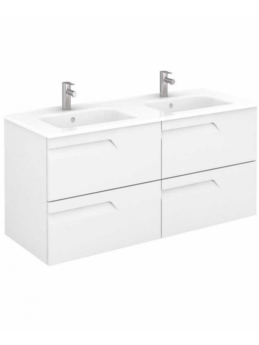 Pravia White 120 cm Wall Hung Double Vanity Unit and SLIM Basins