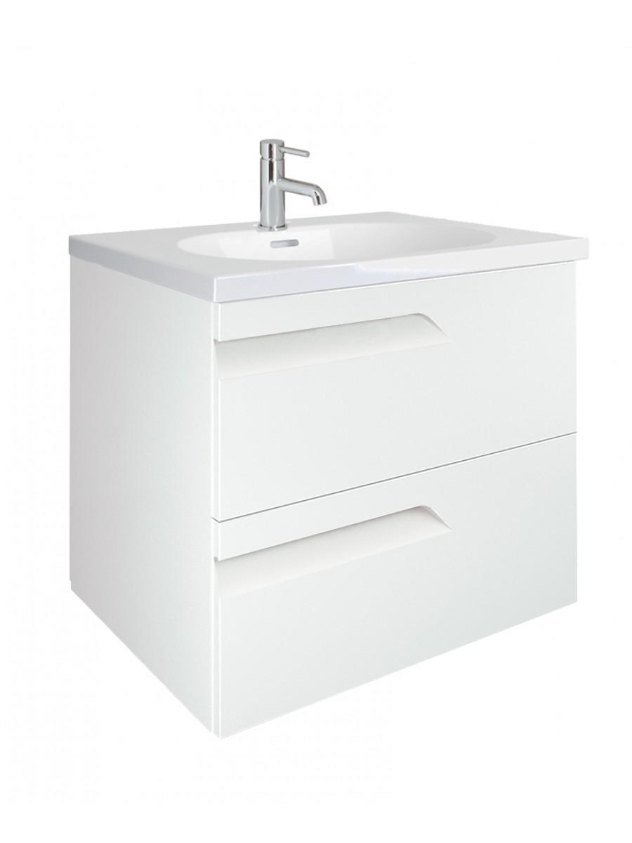 Pravia White 60cm Vanity Unit 2 Drawer and Aida Basin