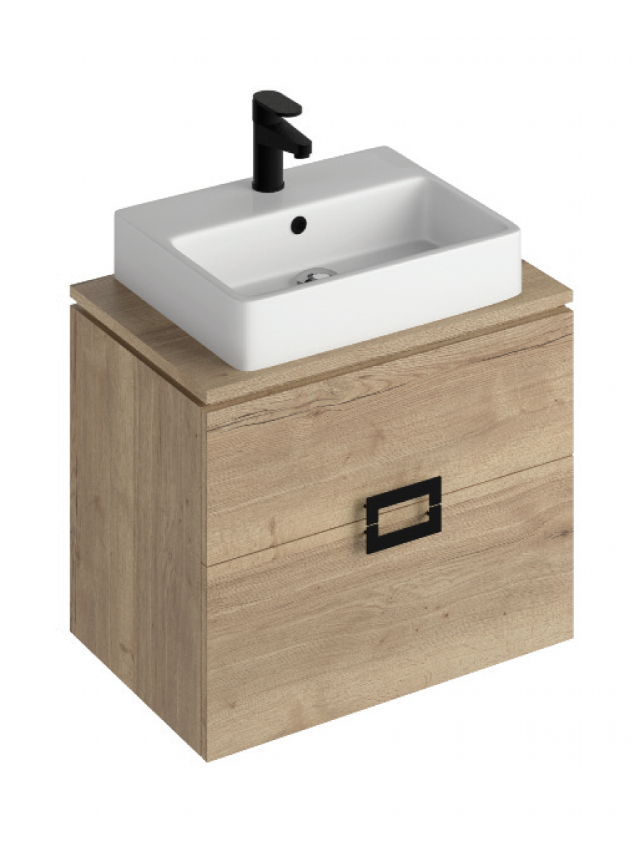 Ava Halifax Oak 65 Vanity Unit and BROOK Countertop Basin